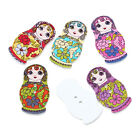 The Bead and Button Box - Beautiful Fancy Russian Doll Wooden Buttons. 3.0cm