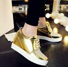 Womens Lace Up Wedge Heel Athletic Shiny Gold Sneakers High Top New Boots Shoes