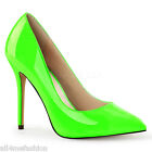 """PLEASER FABULICIOUS AMUSE-20 NEON GREEN PATENT POINTED TOE PUMPS 5"""" HEELS  5-14"""