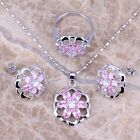 Enjoyable Pink & White Topaz Silver Jewelry Sets Earrings Pendant Ring S0135