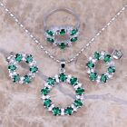 Green Emerald White Topaz Silver Jewelry Sets Earrings Pendant Ring S0141