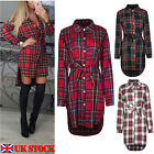 Womens Check Shirt Mini Dress Casual Long Sleeve Plaid Tartan Romper Dress