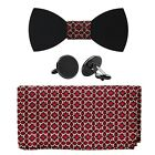 808 Ave Mens Walnut Wood Bow Tie with Matching Pocket Square and Cufflinks Set