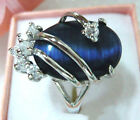 Blue Opal 18KWGP Crystal Ring Size : 7.8.9