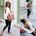 Fashion Ladies Summer Loose Casual Chiffon Backless Vest Shirt Tops Blouse