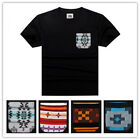 Men's Jacquard Pocket T-Shirt Crew-Neck Short Sleeve Tee Pocket Tee Black