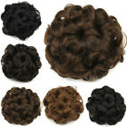 Women's Ladies Wavy Curly Synthetic Hair Bun Drawstring Chignon Hair Piece New 6