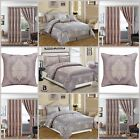 3PC & 7PC BEDSPREAD Jacquard Quilted COMFORTER SET Bedspread & MATCHING CURTAINS
