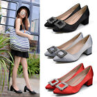 Chunky Heels Rhinestone Buckle Pointy Black Red Satin Work Court Hot Women Shoes