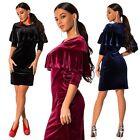 Women Elegant Pleuche Ruffled Collar Long Sleeve Bodycon Cocktail Party Dress