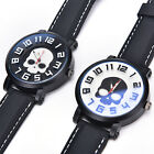 Retro Skull Punk PU Leather Band Bracelet Quartz Wrist Watch Men Women Gift HFU