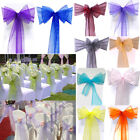 10/50/100 pcs Organza Chair Cover Sash Bow Wedding Party Reception Banquet Decor