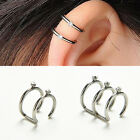 Prevalent 2/3 Row Cartilage Ear Nose Lip Cuff Wrap Clip On Earrings No Piercing