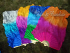 "1 pair 1.1m*0.8m(43""x31"") children size  belly dance silk fan veil for kids play"