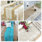 US SHIPPING 10pc Hessian Burlap Flower Lace Table Runner For Wedding Party Decor
