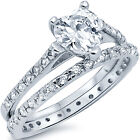 925 Sterling Silver Heart Shape CZ Solitaire Love Band Ring 2 in 1 Set Size 5-10
