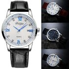 New Men Fashion Casual Artificial Leather Band Round Dial Quartz Watch SH