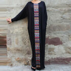 New Women Fashion Crew Neck Batwing Long Sleeve Maxi Long Dress Abaya Plus Size