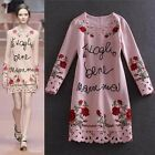 2016 Withered embroidery sequins autumn  winter Long sleeve black or pink dress