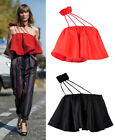 Iconic Asymmetric Shoulder Flounce Flare Ruffle Crop Top Blouse Satin Sheen