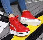Womens Girls Fashion Platofrm Wedge high heel Lace-up Casual Ankle boots Plus Sz