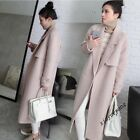 Womens New Europe Thickend Slim Fit Wool Blend Lapel Full Long Parka Overcoat