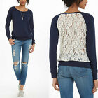 Stylish Women Long Sleeve Shirt Casual Lace hollow Blouse Loose Cotton Tops