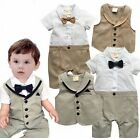 Baby Boy Wedding Christening Formal Tuxedo Outfit+Waistcoat Clothes Set 00 0 1
