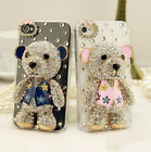 3D Fashion Cute Bling Diamond Crystal Hard Clear Bear Case Cover for Cell Phones