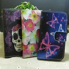 New Skull Butterfly Flower Wallet Stander flip case cover for Samsung Phone