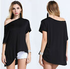 Women Summer Tilted Evening Party Beach Dress Short Mini Top Blouse