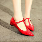 Women's Stylish Patent Leather Pointed Toe Ankle T-strap Comfort Low Heel Shoes