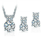 925 Silver Zircon Necklace Earrings Set Women Fashion Jewelry Gift, used for sale  China