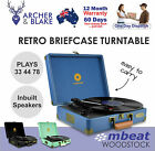 mbeat Woodstock Retro Stylish Vinyl Turntable Player in Black, Blue and Tiffany