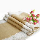 30x275cm Hessian Lace Table Runners Chair Sashes Jute Burlap Sewed Edge Wedding