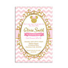 8 Personalized Pink and Gold Minnie Mouse Birthday Party Invitation