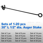 "30"" 1/2"" Steel Auger ScrewIn Ground Anchor Stake Secure Canopy Tent Tarp Carport"