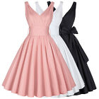 1950s 60s Swing V-neck Vintage Retro Housewife Pinup Evening Party Short Dress .