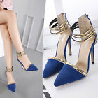 Gold Ankle Strappy Slim Heel D'orsay Pointy Cut Out Suede High Heels Women Shoes