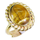 Tiger eye Copper symmetrical handcrafted Ring Brown L-1in UK K,M,O,Q