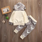 Infant Baby Boys Girls Hooded Tops Long Pants Outfits 2PCS Clothes Set