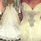 Sexy 2017 Luxury Lace Wedding Dresses Beads Train Bridal Ball Gowns Train Custom