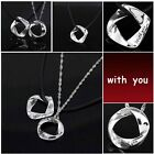 New Couple Silver Plated With You Women Gift Men Pendant Necklace Love Jewelry