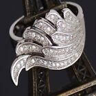 Rhinestone Size 6-10 Women Cubic Zirconia Silver Plated Wing Shape Ring