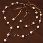 Multilayer Fashion Pearl Necklace Bracelet Earrings Gold Plated Jewelry Sets QW