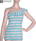 TANK TOP BLOUSE BLUE WITH SILVER STRIPES ANGLED RUFFLES, SMALL MEDIUM LARGE