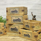 Vincent Motorcycle Vintage Box Rustic Wooden Storage Crate Classic Black Shadow