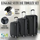 3Pcs ABS Luggage Spinner Travel Set Bag Trolley Wheels Suitcase Lock Black Blue