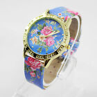 New Geneva Floral Design Leather Casual Looking Girl Women Wrist Watch Watches