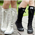 PUNK EMO US Xmas Season Shoes Canvas Boots Zip Lace Up Knee High Sneaker Pumps